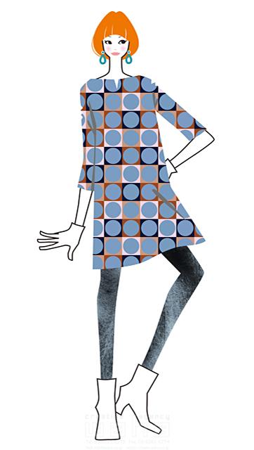 イラスト&写真のストックフォトwaha(ワーハ) 人、人物、女性、大人、若者、20代、30代、ファッション、化粧、スタイリッシュ、かっこいい、おしゃれ、ワンピース、お出かけ、屋外 小倉 あん 19-2412b