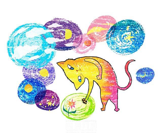 イラスト&写真のストックフォトwaha(ワーハ) 動物、猫、ファンタジー、月、星、不思議、カラフル、花、空、抽象 しまむら ゆかり 19-2418b