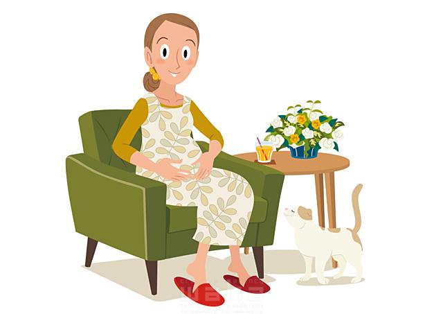 19-2423b 両口 和史 人、女性、大人、母、ママ、妊婦、ソファ、リビング、赤ちゃん、愛