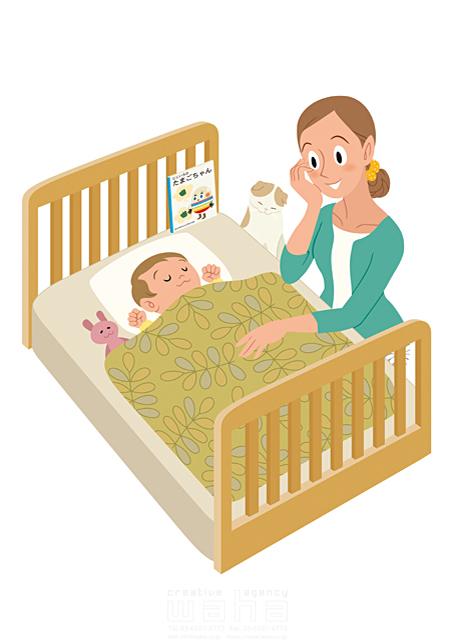 イラスト&写真のストックフォトwaha(ワーハ) 人、女性、大人、母、ママ、ベッド、赤ちゃん、子供、愛、安心、癒やし、親子、ハート、絆、子育て、成長 両口 和史 19-2424b