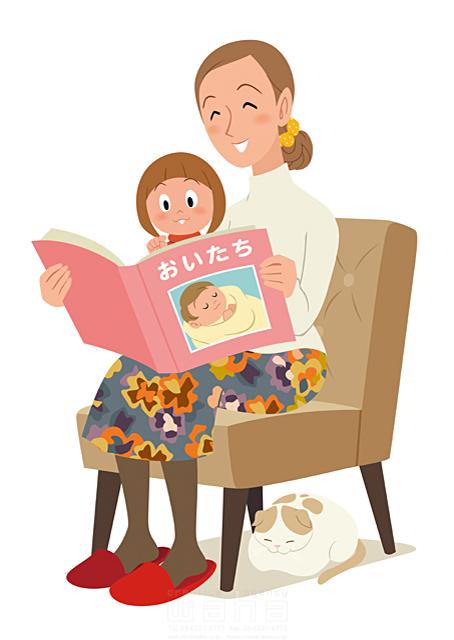 イラスト&写真のストックフォトwaha(ワーハ) 人、女性、大人、母、ママ、子供、愛、安心、癒やし、親子、ハート、絆、子育て、本、読書、思い出、成長 両口 和史 19-2425b