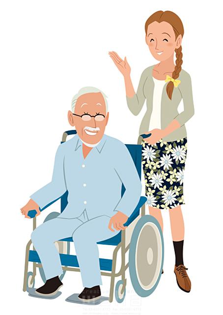 イラスト&写真のストックフォトwaha(ワーハ) 人、人々、女性、男性、家族、大人、親子、父、娘、シニア、老人、車椅子、介護、中高年、愛、絆、優しい 両口 和史 19-2428b