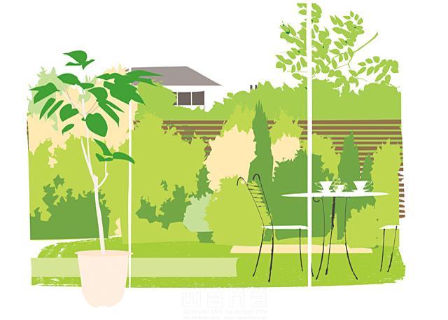 イラスト&写真のストックフォトwaha(ワーハ) 風景、生活、暮らし、日常、家、住宅、庭、テラス、インテリア、観葉植物、自然、テーブル、ティータイム、憩い、安らぎ、休憩 都筑 みなみ 19-2429c