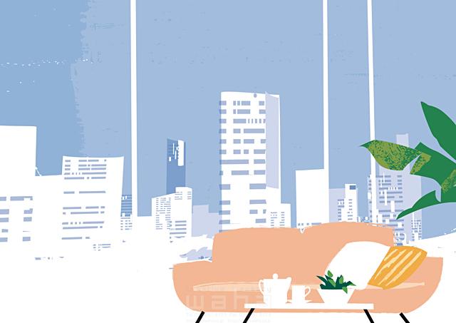 イラスト&写真のストックフォトwaha(ワーハ) 風景、生活、暮らし、日常、家、住宅、リビング、ソファ、植物、インテリア、窓、部屋、ビル、建物、都会、街、街並み 都筑 みなみ 19-2430c