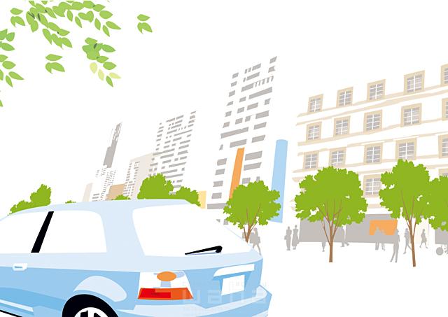 イラスト&写真のストックフォトwaha(ワーハ) 風景、生活、暮らし、日常、人、人々、歩く、集団、街、自然、木、並木、都会、ビル、建物、車、道 都筑 みなみ 19-2434c