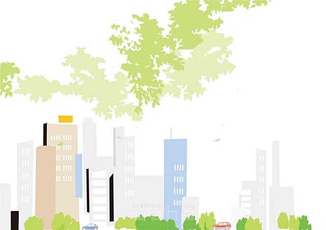 イラスト&写真のストックフォトwaha(ワーハ) 風景、生活、暮らし、日常、道路、車、街、街並み、自然、木、並木、都会、ビル、建物 都筑 みなみ 19-2435b