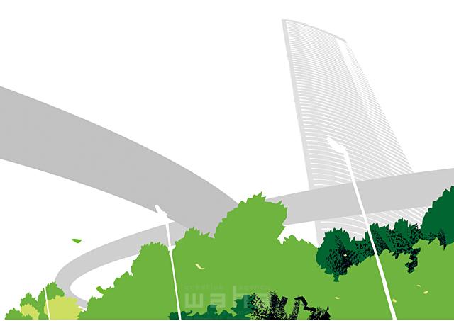 イラスト&写真のストックフォトwaha(ワーハ) 風景、生活、暮らし、日常、道路、街、街並み、自然、木、並木、都会、ビル、建物 都筑 みなみ 19-2436b