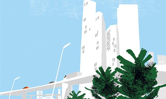 イラスト&写真のストックフォトwaha(ワーハ) 風景、生活、暮らし、日常、道路、街、街並み、自然、木、並木、都会、ビル、建物、沿岸 都筑 みなみ 19-2438b