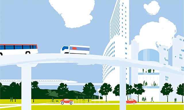 イラスト&写真のストックフォトwaha(ワーハ) 風景、生活、暮らし、日常、道路、街、街並み、自然、木、並木、都会、ビル、建物、車 都筑 みなみ 19-2439c