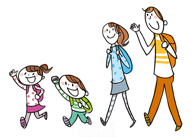 イラスト&写真のストックフォトwaha(ワーハ) 人、人々、女性、男性、家族、親子、大人、お母さん、母親、お父さん、父親、子供、小学生、女の子、男の子、姉弟、笑顔、歩く、散歩、ハイキング、お出かけ、旅行、屋外、愛情、絆、元気、生活、暮らし、楽しい きつ まき 19-2441b