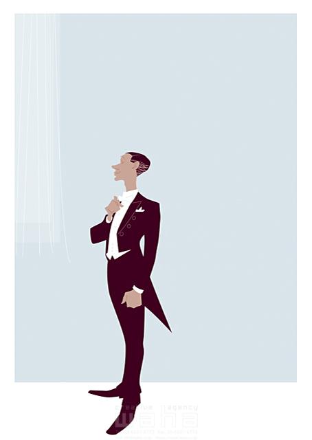 イラスト&写真のストックフォトwaha(ワーハ) 人、男性、大人、紳士、スーツ、燕尾服、礼服、正装、フォーマル、パーティー、イベント、結婚式、ウェディング、お祝い、新郎、ファッション、上品、華麗、美しい、カーテン b-t 19-2442c