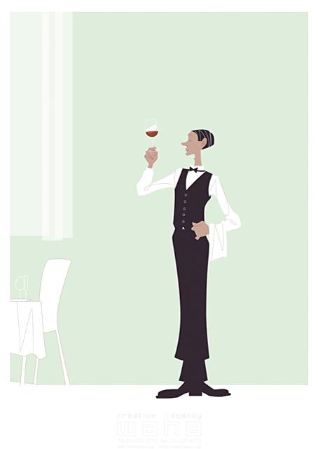 イラスト&写真のストックフォトwaha(ワーハ) 人、外国人、男性、大人、ウェイター、バーテンダー、スーツ、レストラン、食事、ワイン、働く人、上品、華麗、美しい、テーブル、ダイニング、ワイングラス、カーテン b-t 19-2443c