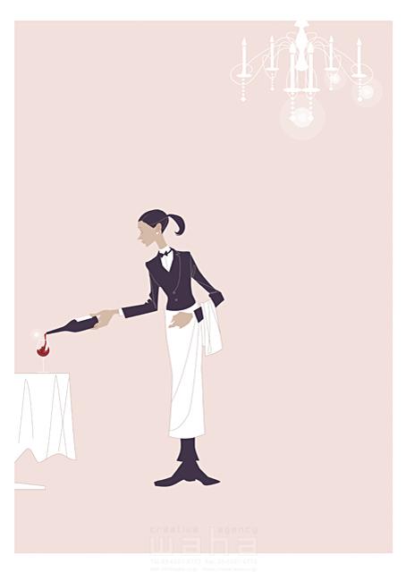 イラスト&写真のストックフォトwaha(ワーハ) 人、外国人、女性、大人、ウェイトレス、バーテンダー、スーツ、レストラン、食事、ワイン、働く人、上品、華麗、美しい、テーブル、ダイニング、ワイングラス、シャンデリア b-t 19-2444c