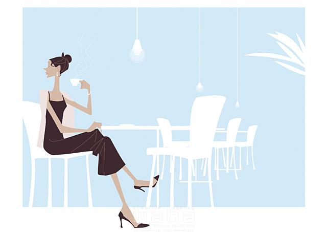 イラスト&写真のストックフォトwaha(ワーハ) 人、外国人、女性、大人、カフェ、レストラン、ダイニング、コーヒー、テーブル、イス、休憩、ブレイクタイム、安らぎ、憩い、休憩、生活、暮らし b-t 19-2446c