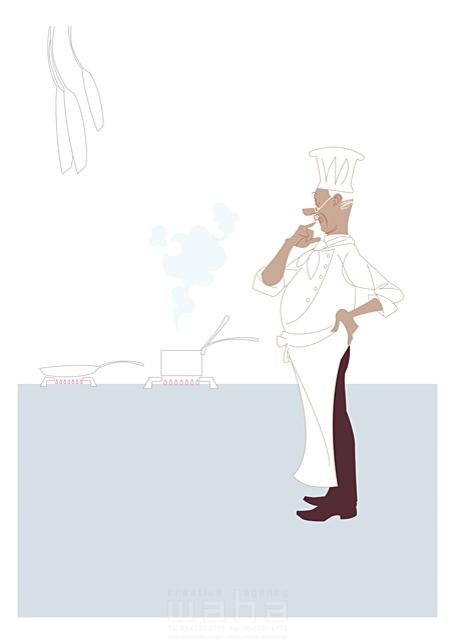 イラスト&写真のストックフォトwaha(ワーハ) 人、外国人、男性、大人、中高年、シニア、シェフ、コック、料理人、食事、働く人、キッチン、レストラン b-t 19-2447c