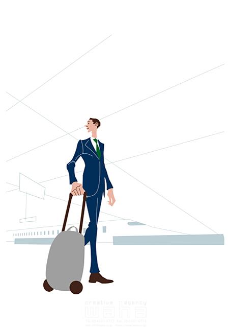 イラスト&写真のストックフォトwaha(ワーハ) 人、外国人、男性、大人、ビジネスマン、サラリーマン、働く人、スーツ、会社、仕事、歩く、キャリーケース、駅、新幹線、歩く b-t 19-2450c