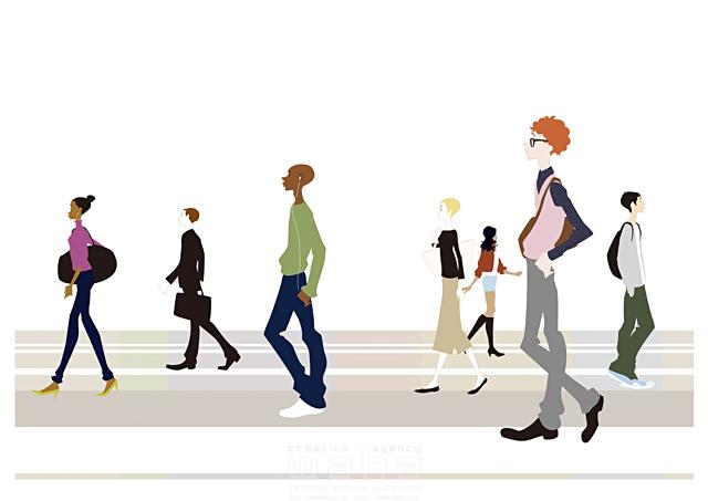 イラスト&写真のストックフォトwaha(ワーハ) 人、外国人、人々、女性、男性、大人、若者、ビジネスマン、横顔、歩く、集団、集合、群衆、街 b-t 19-2457c