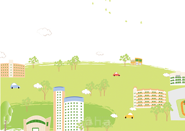 イラスト&写真のストックフォトwaha(ワーハ) 風景、家、建物、ビル、街、町、マンション、アパート、街並み、町並み、都市、車、緑、エコ、自然、生活、暮らし 相田 洋 19-2459b