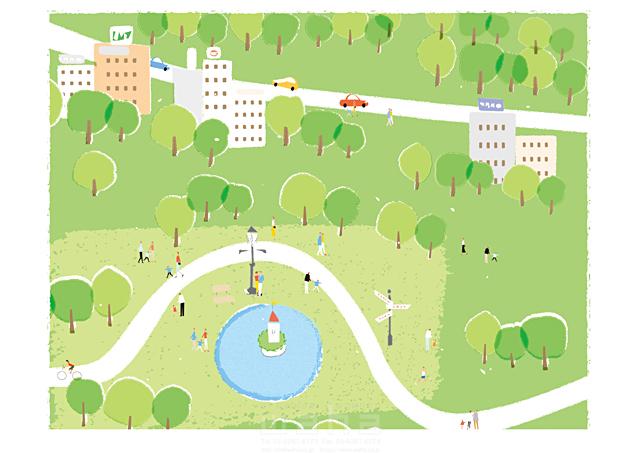 イラスト&写真のストックフォトwaha(ワーハ) 人、人々、集団、群衆、集合、風景、家、建物、ビル、街、町、街並み、町並み、車、緑、エコ、自然、木、公園、広場、池、憩い、安らぎ、生活、暮らし 相田 洋 19-2460c