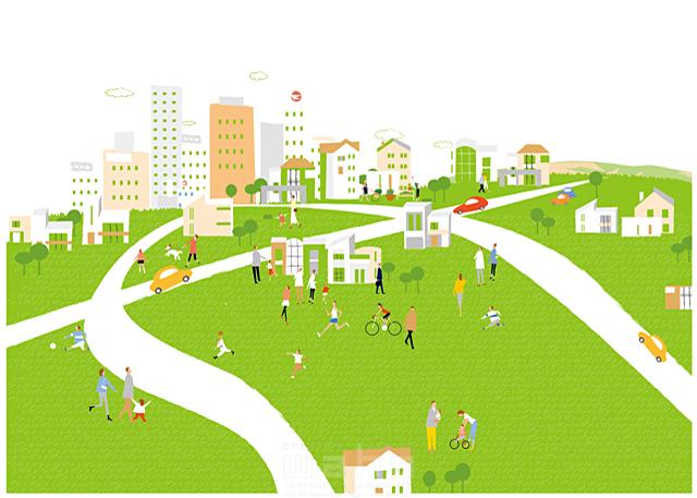 イラスト&写真のストックフォトwaha(ワーハ) 人、人々、集団、群衆、集合、風景、家、住宅、住まい、建物、ビル、街、町、街並み、町並み、都市、道路、車、緑、エコ、自然、木、生活、暮らし 相田 洋 19-2461c
