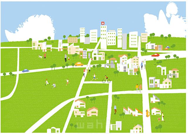 イラスト&写真のストックフォトwaha(ワーハ) 人、人々、集団、群衆、集合、風景、家、住宅、住まい、建物、ビル、街、町、街並み、町並み、都市、道路、車、緑、エコ、自然、木、生活、暮らし 相田 洋 19-2462c