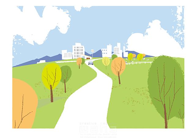 イラスト&写真のストックフォトwaha(ワーハ) 風景、建物、ビル、街、町、街並み、町並み、道路、車、緑、エコ、自然、木、生活、暮らし、牧場 相田 洋 19-2463b