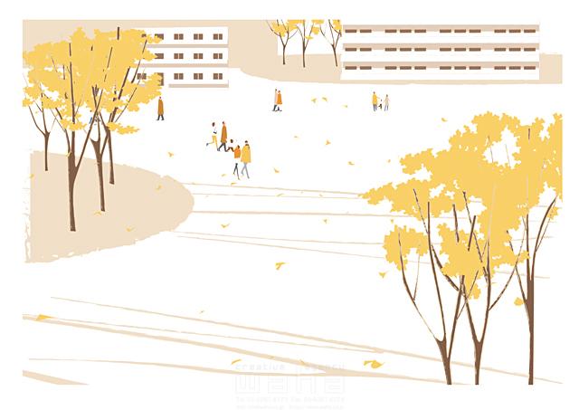 イラスト&写真のストックフォトwaha(ワーハ) 人、人々、集団、群衆、集合、風景、建物、マンション、街、町、街角、自然、木、公園、生活、暮らし、散歩、秋、イチョウ、紅葉、落ち葉 相田 洋 19-2464b