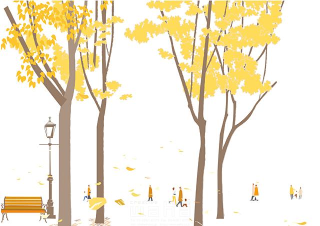 イラスト&写真のストックフォトwaha(ワーハ) 人、人々、集団、群衆、集合、風景、街、町、街角、自然、木、公園、ベンチ、生活、暮らし、散歩、秋、イチョウ、紅葉、落ち葉 相田 洋 19-2465b