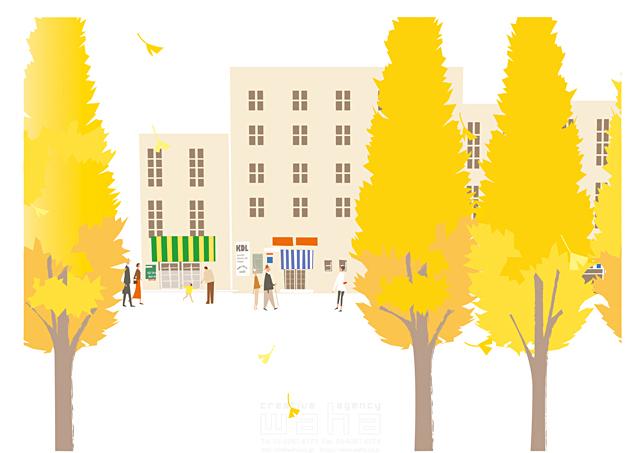 イラスト&写真のストックフォトwaha(ワーハ) 人、人々、集団、群衆、集合、風景、建物、ビル、街、町、街角、街並み、町並み、自然、木、生活、暮らし、散歩、秋、イチョウ、紅葉、落ち葉 相田 洋 19-2466b