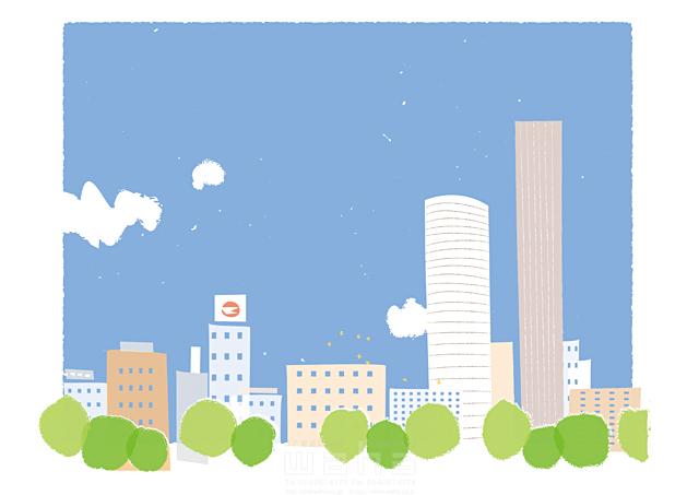 イラスト&写真のストックフォトwaha(ワーハ) 風景、建物、ビル、街、街並み、都市、都会、緑、エコ、自然、木、生活、暮らし、空、雲 相田 洋 19-2467b