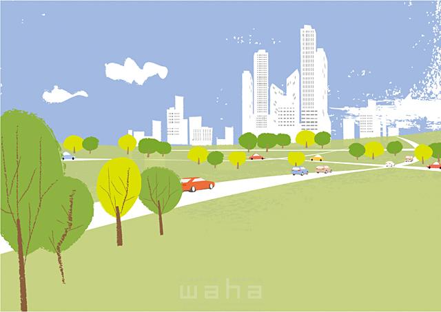 イラスト&写真のストックフォトwaha(ワーハ) 風景、建物、ビル、街、街並み、都市、都会、道路、車、緑、エコ、自然、木、生活、暮らし、空、雲 相田 洋 19-2468c