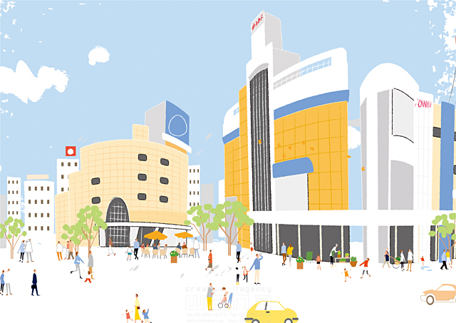 イラスト&写真のストックフォトwaha(ワーハ) 人、人々、集合、集団、群衆、風景、建物、ビル、街、街並み、都市、都会、道路、車、広場、緑、自然、木、生活、暮らし、空、雲 相田 洋 19-2470c