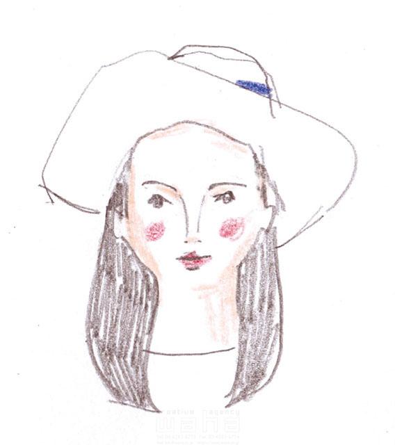 イラスト&写真のストックフォトwaha(ワーハ) 鉛筆、人物、女性、大人、若者、帽子、オシャレ、お出かけ、20代、30代、顔、暮らし、生活、日常、ファッション わたなべ さちこ 19-2471b