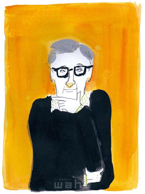 イラスト&写真のストックフォトwaha(ワーハ) 鉛筆、水彩画、人物、男性、大人、中高年、シニア、老人、お年寄り、メガネ、シブい、ダンディー、上半身、考える、悩む、手、インテリ、知的 わたなべ さちこ 19-2474b