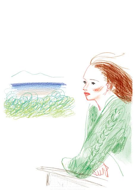 イラスト&写真のストックフォトwaha(ワーハ) 鉛筆、水彩画、人物、女性、大人、若者、奥さん、オシャレ、20代、30代、40代、考える、眺める、風景、海、屋外、風、自然、リラックス、日常、生活、暮らし わたなべ さちこ 19-2480b