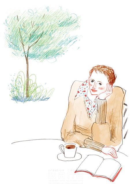 イラスト&写真のストックフォトwaha(ワーハ) 鉛筆、水彩画、人物、女性、大人、若者、奥さん、オシャレ、20代、30代、40代、考える、眺める、屋外、風、自然、木、リラックス、憩い、安らぎ、休憩、カフェ、コーヒー、本、読書、日常、生活、暮らし わたなべ さちこ 19-2481b