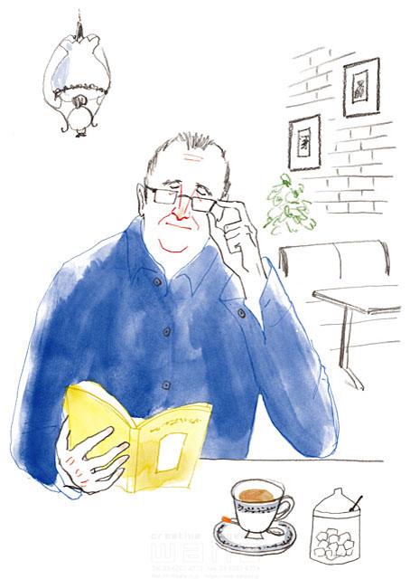 イラスト&写真のストックフォトwaha(ワーハ) 鉛筆、水彩画、人物、男性、大人、中高年、シニア、老人、お年寄り、メガネ、シブい、ダンディー、本、読書、憩い、安らぎ、休憩、カフェ、レストラン、インテリ、知的、日常、生活、暮らし わたなべ さちこ 19-2483c