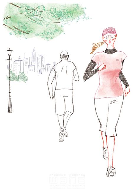 イラスト&写真のストックフォトwaha(ワーハ) 鉛筆、水彩画、人物、人々、大人、若者、中高年、女性、男性、走る、ジョギング、マラソン、ランニング、スポーツ、運動、健康、元気、オシャレ、街、都会、公園、日常、生活、暮らし わたなべ さちこ 19-2484c