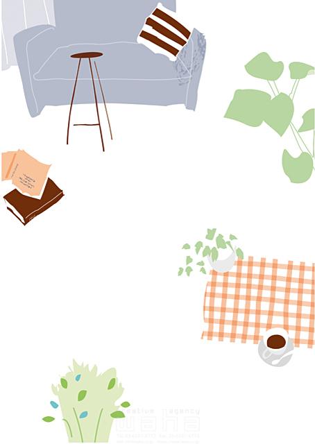 イラスト&写真のストックフォトwaha(ワーハ) 家、住宅、屋内、室内、部屋、リビング、インテリア、家具、ソファ、本、コーヒー、観葉植物、緑、ロハス、生活、日常、暮らし 相田 洋 19-2488b