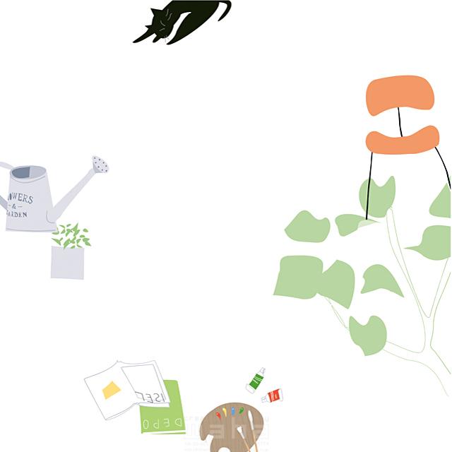 イラスト&写真のストックフォトwaha(ワーハ) 家、住宅、屋内、室内、部屋、インテリア、家具、イス、猫、動物、ペット、アート、絵画、芸術、本、観葉植物、緑、ロハス、生活、日常、暮らし 相田 洋 19-2490b