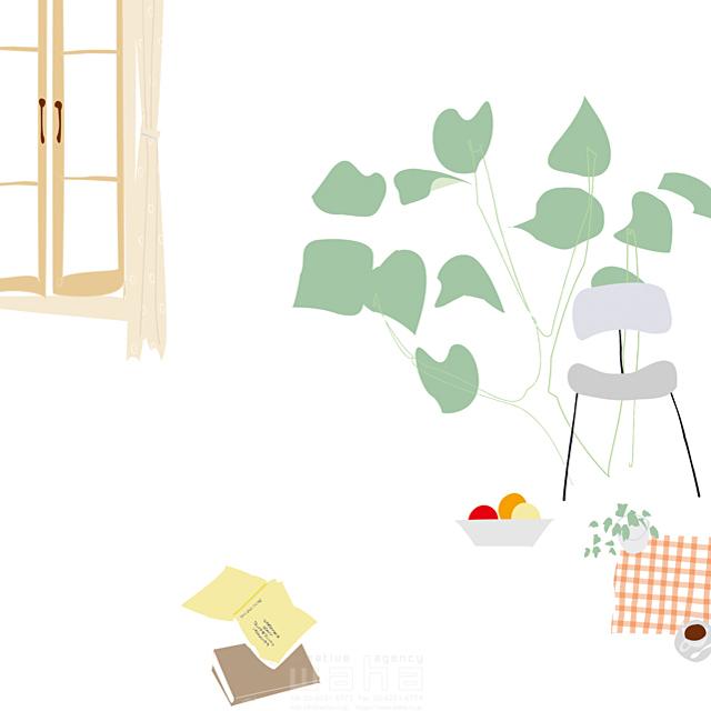 イラスト&写真のストックフォトwaha(ワーハ) 家、住宅、屋内、室内、部屋、窓、インテリア、家具、イス、本、コーヒー、観葉植物、緑、ロハス、生活、日常、暮らし 相田 洋 19-2491b