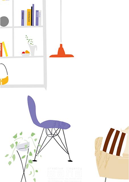 イラスト&写真のストックフォトwaha(ワーハ) 家、住宅、屋内、室内、部屋、リビング、インテリア、家具、ソファ、本、本棚、照明、イス、観葉植物、緑、ロハス、生活、日常、暮らし 相田 洋 19-2492b