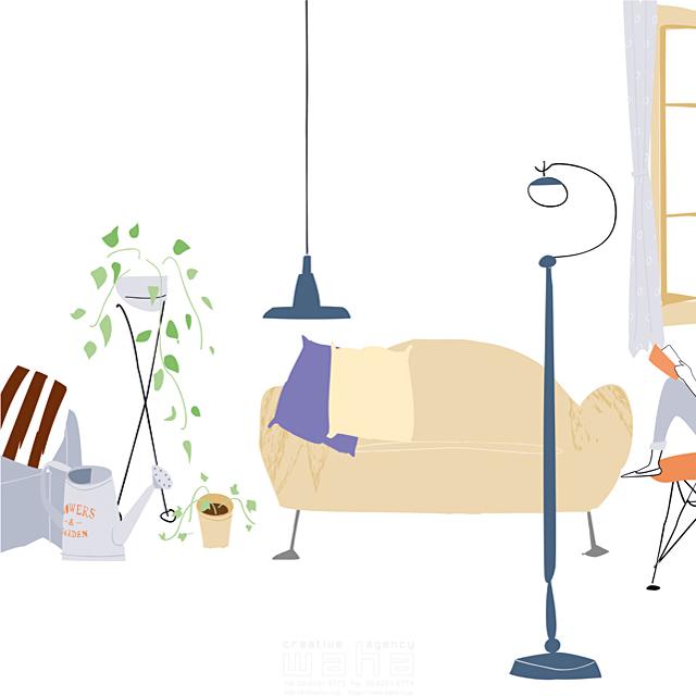 イラスト&写真のストックフォトwaha(ワーハ) 家、住宅、屋内、室内、部屋、リビング、インテリア、家具、ソファ、本、本棚、照明、イス、観葉植物、緑、ロハス、生活、日常、暮らし 相田 洋 19-2494b