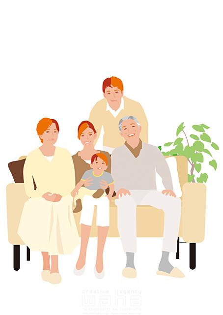 イラスト&写真のストックフォトwaha(ワーハ) 人、人々、女性、男性、大人、家族、お父さん、お母さん、奥さん、親子、子供、男の子、小学生、老夫婦、老人、お年寄り、おじいさん、おばあちゃん、シニア、中高年、家、住宅、部屋、室内、リビング、ソファ、憩い、安らぎ、リラックス、笑顔、記念写真、絆 都筑 みなみ 19-2499cv