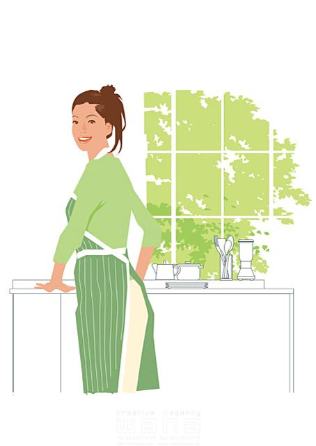 イラスト&写真のストックフォトwaha(ワーハ) 人、女性、大人、家族、お母さん、奥さん、主婦、家、住宅、部屋、室内、キッチン、料理、食事、家事、笑顔、窓、生活、日常、暮らし 都筑 みなみ 19-2500cv