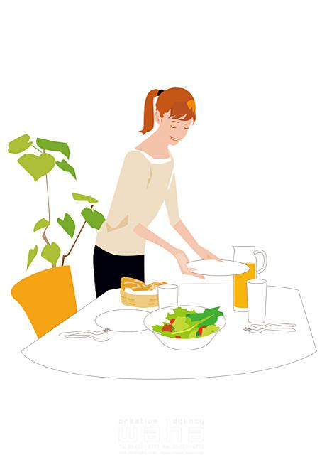 イラスト&写真のストックフォトwaha(ワーハ) 人、女性、大人、家族、お母さん、奥さん、主婦、家、住宅、部屋、室内、ダイニング、料理、食事、野菜、家事、笑顔、生活、日常、暮らし 都筑 みなみ 19-2503cv
