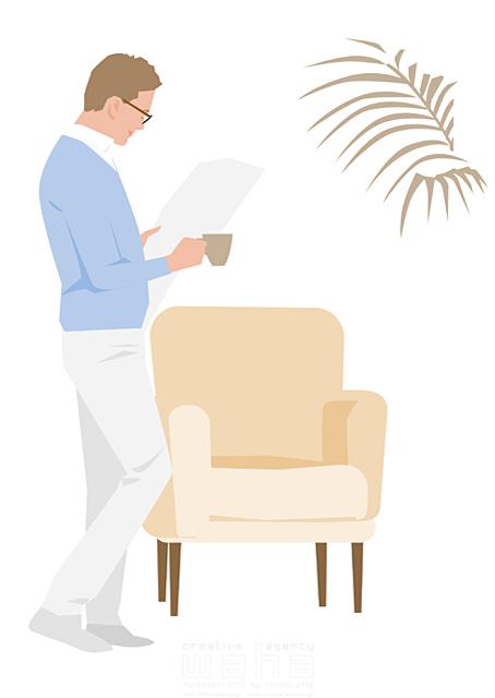 イラスト&写真のストックフォトwaha(ワーハ) 人、男性、大人、家族、お父さん、旦那、主人、家、住宅、部屋、室内、リビング、ソファ、新聞、読む、憩い、安らぎ、リラックス、生活、日常、暮らし 都筑 みなみ 19-2504c