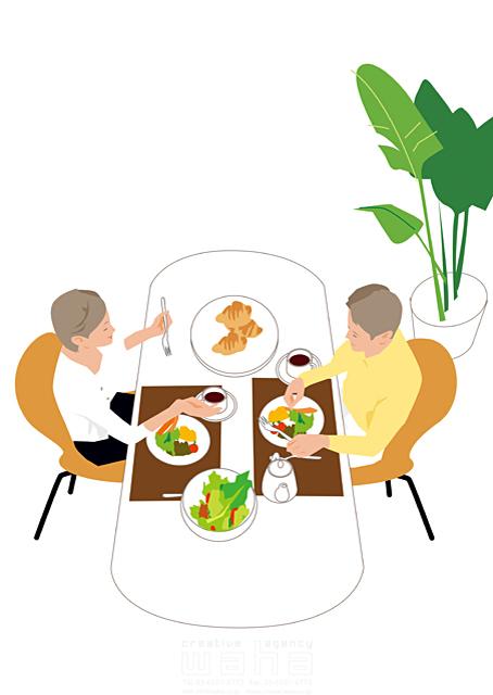 イラスト&写真のストックフォトwaha(ワーハ) 人、人々、女性、男性、大人、家族、夫婦、カップル、家、住宅、部屋、室内、ダイニング、料理、食事、パン、コーヒー、野菜、家事、笑顔、観葉植物、生活、日常、暮らし 都筑 みなみ 19-2509cv