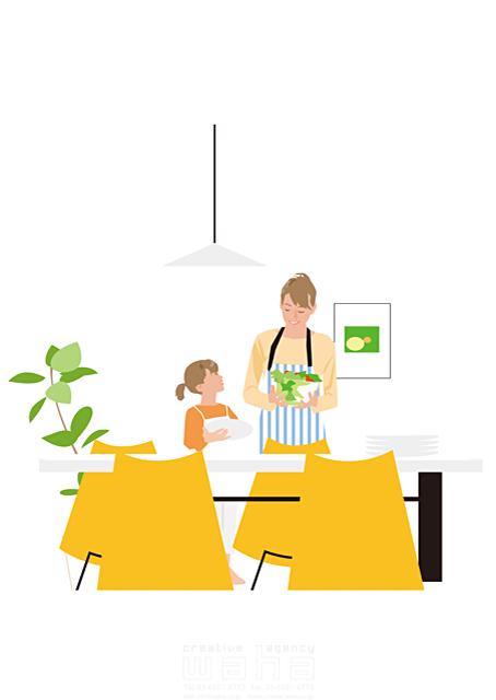 イラスト&写真のストックフォトwaha(ワーハ) 人、人々、女性、大人、家族、お母さん、奥さん、主婦、子供、女の子、小学生、親子、家、住宅、部屋、室内、ダイニング、料理、食事、野菜、家事、笑顔、生活、日常、暮らし 都筑 みなみ 19-2510cv