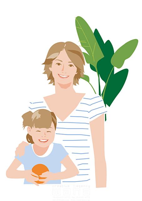イラスト&写真のストックフォトwaha(ワーハ) 人、人々、女性、大人、家族、お母さん、奥さん、主婦、子供、女の子、小学生、親子、家、住宅、部屋、室内、笑顔、記念写真、観葉植物、生活、日常、暮らし 都筑 みなみ 19-2511cv